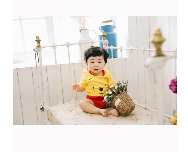 Детская одежда Детская одежда мультфильм ползать новорожденный чистый хлопок треугольный hatchwear мило