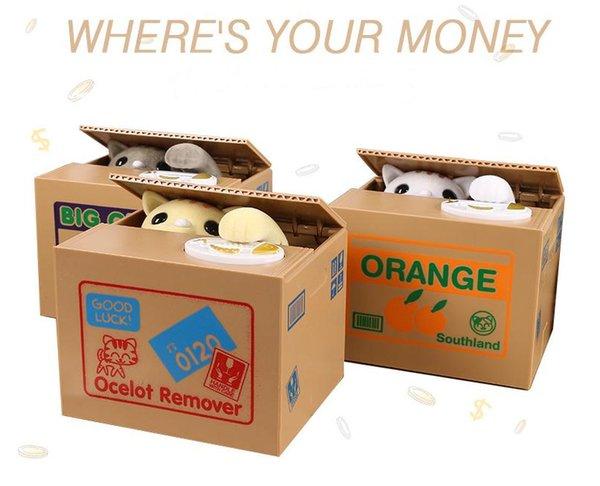 Creative Piggy Bank Itazura Cat Steal Money Coin Box Electric Super cute Different Styles Square Boxes Gift Hot Sell SN2622