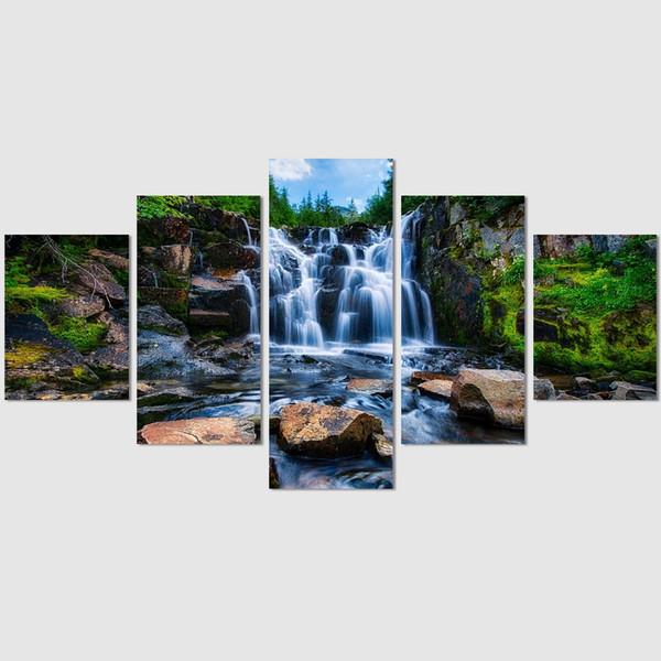 Grande bella cascata scenario, 5 pezzi stampe su tela Wall Art olio su tela Home Decor (senza cornice / incorniciato)