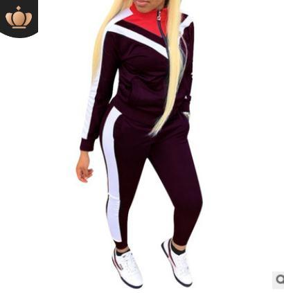 2019 European and American women's fashion casual suit color block stitching sports wind two-piece Women's Tracksuits