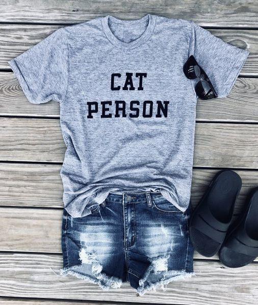 Cat Person T-Shirt Lover Mom Aesthetic Track Tee Shirt, Abbigliamento donna Divertente Slogan Femmina Kawaii Tees Goth Cime