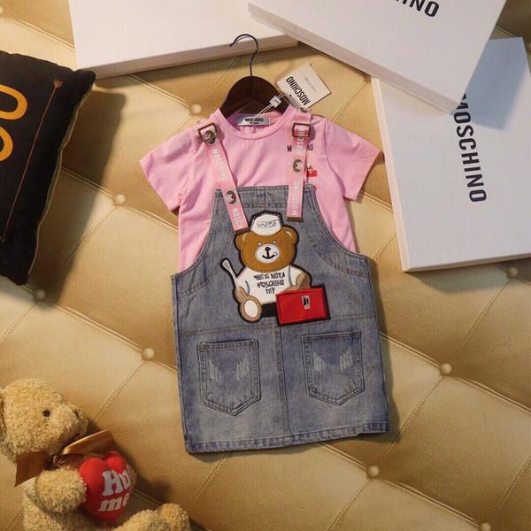 Girls strap dresses sets kids designer clothing T shirt + bear pattern denim strap skirt 2pcs spring and summer short sleeve sets