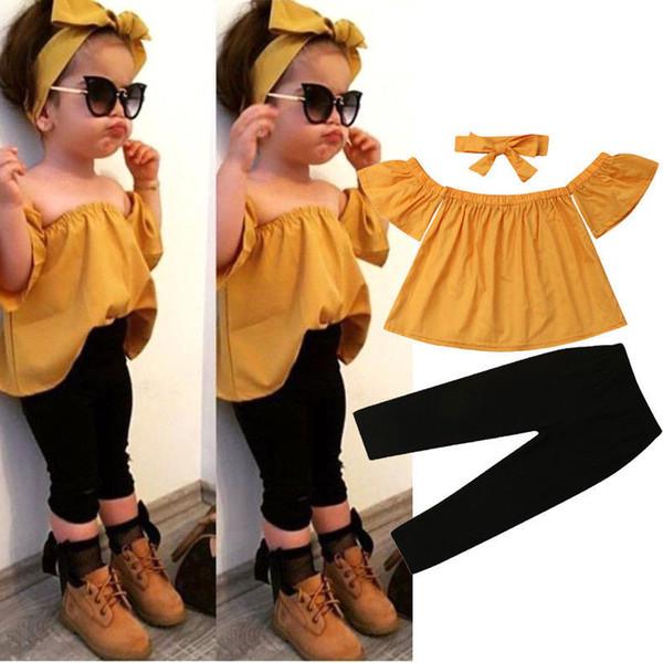 Tout-petit bébé filles vêtements à manches courtes Pull épaule Hauts Pantalons solides Bow Bandeau 3pc coton enfants belle