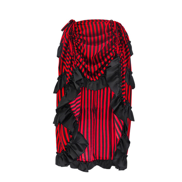 top popular Retro Gothic Skirt for Women New Arrival Stripe Pattern Pleated Skirts High Low Cut Out Design Victorian Style Costume 2021