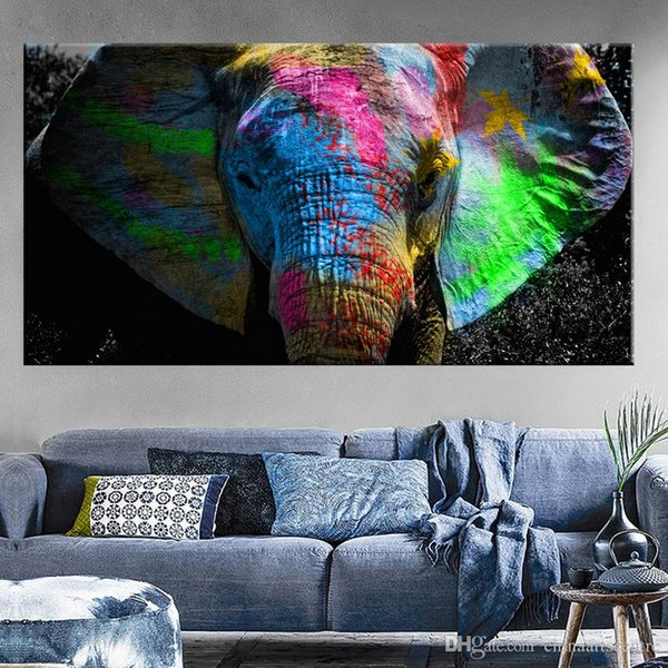vA. High Quality Handpainted & HD Print Abstract Animal Art Oil Painting Africa Elephant On Canvas Wall Art Home Office Deco a11