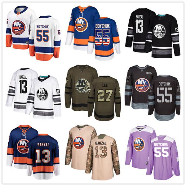 top popular Custom New York Islanders Jersey Mathew Barzal Johnny Boychuk Ryan Pulock Cal Clutterbuck Casey Cizikas Anders Lee USA Fashion hockey jersey 2019