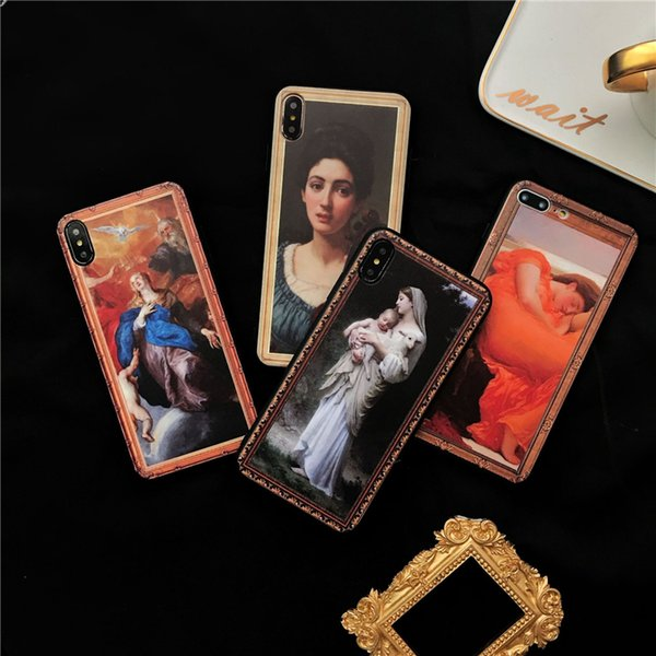 Classic Beautiful Emboss Painting Crashproof Soft Back Cover TPU Cell Phone Cases Protective Covers For iPhone X XR XS MAX 6 6S 7 8 PLUS