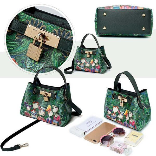 FGGS Ms. Patchwork Forest Girl Printing Green PU Leather Fashion Trend Multi-use Shoulder Diagonal Package