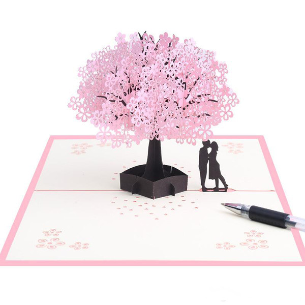 Sakura Tree Tarjetas de felicitación Tarjeta de invitación estereoscópica 3D Talla de papel manual Jardín de flores Suministros para banquetes de boda románticos