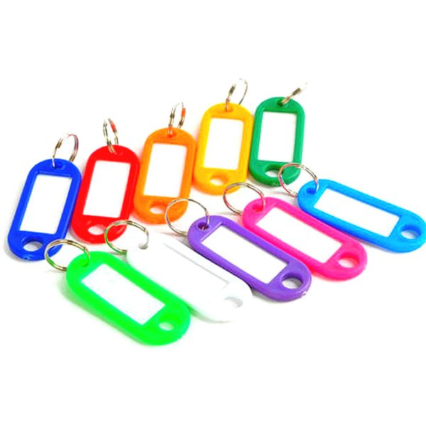 Unisex Plastic Key Tags Assorted Key Fobs Rings ID Tags Name Card Label chain