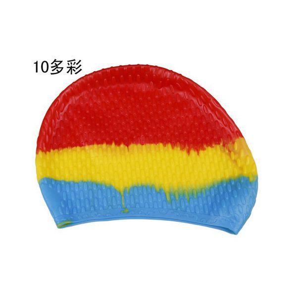 2017 New Limited Women Rainbow Colorful Waterproof Ear Long Hair Protect Swim Pool Swimwear Hats For Adults Swimming Cap