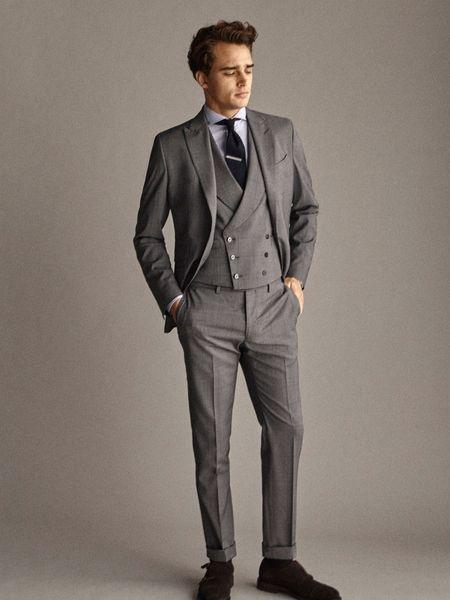 New Arrival A Self-Styled Plaid Suit Jacket Custom Made Men Suit Groom Tuxedos Formal Suits Business Men Wear(Jacket+Pants+Vest)