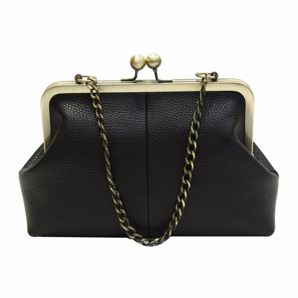 Donalworld Women Messenger Bag Retro Kiss Lock Pu Leather Crossbody Bag Vintage Shoulder Purse Handbag Totes Solid Color #173314