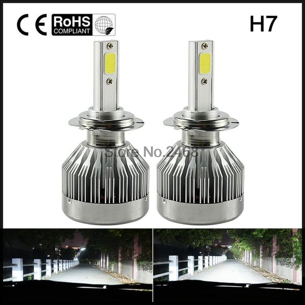 all-in-one car headlights h7 led bulb auto front bulb 66w 6000lm automobiles headlamp white golden