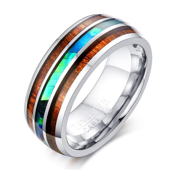 8MM di alta qualità moda semplici anelli da uomo in legno di tungsteno guscio d'acciaio gioielli regalo per gli uomini ragazzi j077
