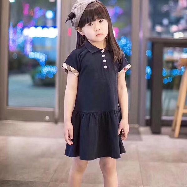 2019 nuevo comercio de verano niñas bebés se visten solapa faldas de tenis deportes lindos faldas plisadas niños ropa niña vestidos tops