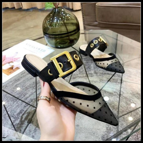 Toptan 2019 Yeni Kadın Terlik Katır Slayt Sandal Katır Örgü Nokta Tasarım Ayakkabı Marka Düşük Topuklu Kadın Ayakkabı