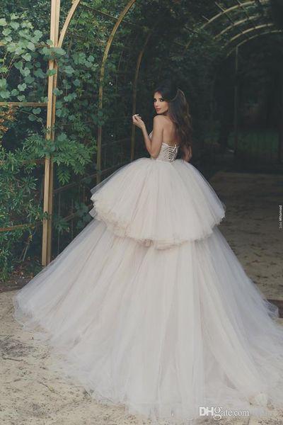 Ball Gown Tulle Short Beach African Corset Wedding Dresses Detachable Skirt Train 2019 New Milla Nova Wedding Dress H023