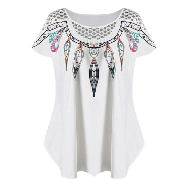 Wipalo Plus Size Hollow Out Feather Print Top Summer Women Long Oversize Tee Fashion Panel Scoop Neck Short Sleeve T Shirt