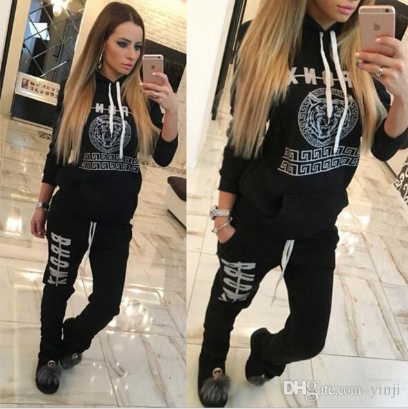 Artı boyutu Giyim 2018 Marka Kadınlar Sonbahar Winer Moda 2 Adet Set Tracksuits Kapşonlu Kapüşonlular ve Pantolon Suit Tişörtü Spor