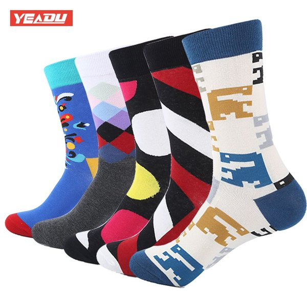 YEADU 5 Pair/Lot Funny Men's Colorful Combed Cotton Fashion Socks Striped Dots Casual Party Dress Socks Men