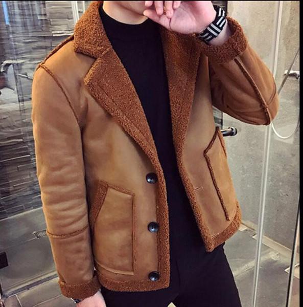 M-XXXL 2019 giacca bavero uomo giovanile scamosciata ispessimento dei capelli d'agnello giacca maschile più velluto agnello abbigliamento