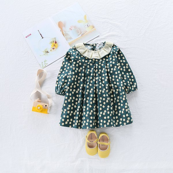 18M-5T Casual Spring Baby Girl Dress Cotton Print Floral Ruffles Collar Infant Girl Dresses Toddler Baby Girl Clothes Princess