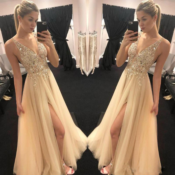Sparkly Gold Champagne Prom Dresses Sexy V neck Sheer Top Beaded Sequins tulle vogue Front Slit Evening Party Gowns Boho Engagement Dresses
