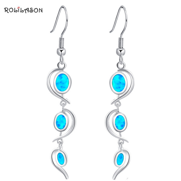 earring knot Delicate Dangle earrings Wholesale & retail Blue Fire Opal Silver Stamped Drop Earrings for women Party Fashion Jewelry OE364