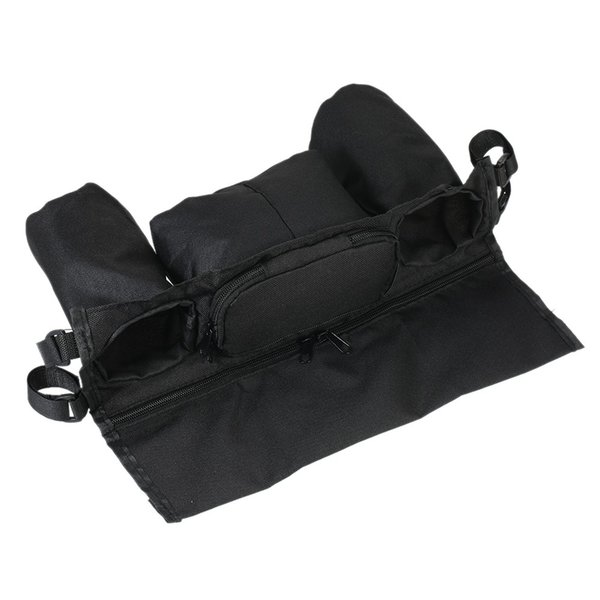 Universal Baby Stroller Organizer Diaper Bottle Storage Bag Drink Holders with Adjustable Magic Tape Black easy to clean