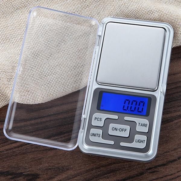 El nuevo llega a 500 g / 0.01 g Mini balanza de bolsillo digital de joyería de pesaje digital Función de conteo de saldo azul LCD g / tl / oz / ct