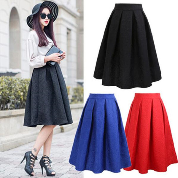 Neophil 2019 Summer Black Red Jacquard Pleated Ball Gown Skater Ladies Midi Skirts Womens Plus Size Office Wear Tutu Saia S08044 J190619