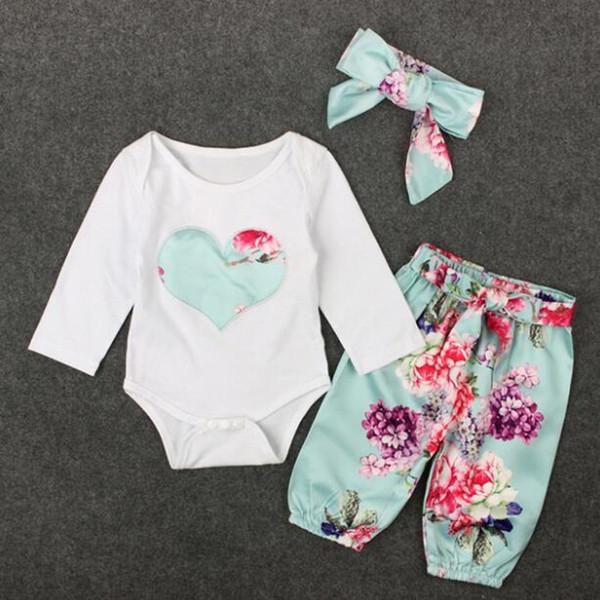 Novo Bebê Meninas Roupas Romper Primavera Outono Crianças Coração Bordado Tops + Floral Pant Outfits Crianças Menina Roupas Set Retail