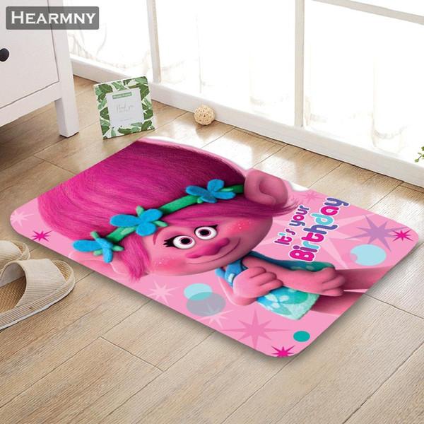 Trolls su ordinazione Pavimento / bagno / cucina / tessuto di spugna della flanella della stuoia della spiaggia 3D ha stampato la decorazione Shaggy per la camera da letto