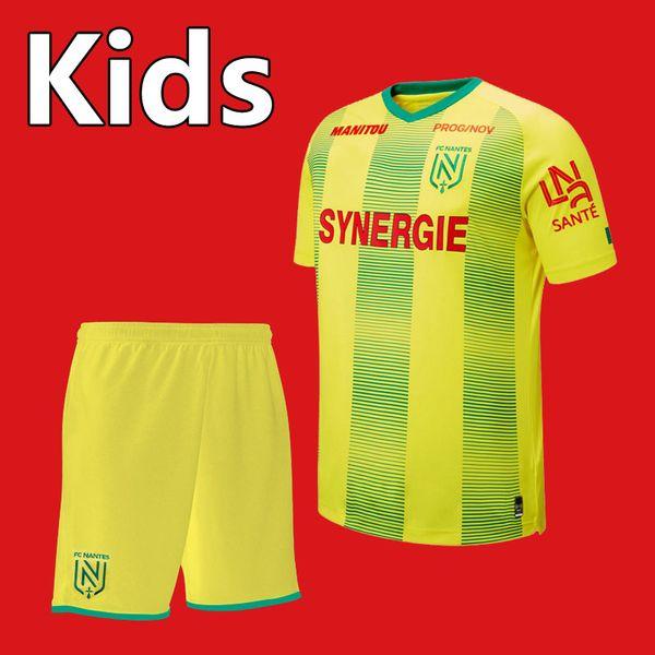 top popular 2019 20 New FC Nantes soccer Jersey kids Kit sets 19 2020 FC Nantes boys youth home yellow Children football Shirt uniforms 2019