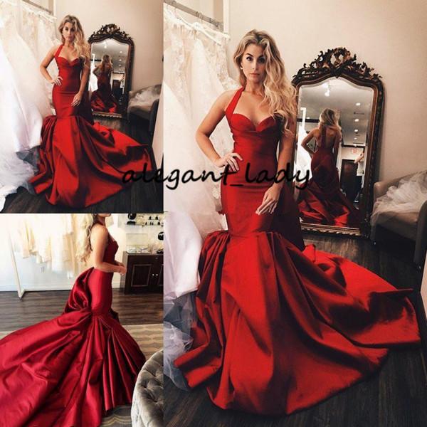 Fabulous Red Mermaid Prom Dresses Halter V Neck Ruffled Evening Gowns Sweep Train Vestidos De Fiesta Satin Formal Dress