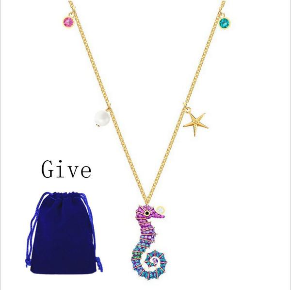 High-quality SWA original cute hippocampus DIY Necklace Pendant Fashion Women 1:1 Necklace
