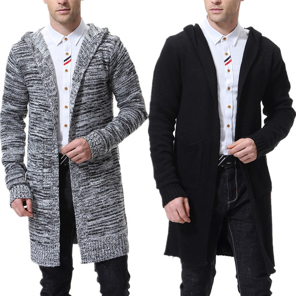 best selling Men's Hooded Sweater Knitting Cardigan Sweater Jackets Slim Long Outerwear Lightweight Thin for Fashion