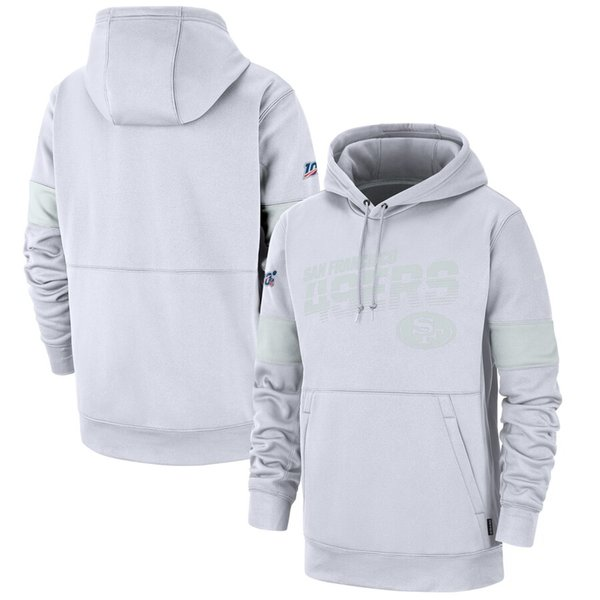 38 Men s San Francisco49ers 100th 2019 Sideline Platinum Therma Pullover Hoodie - White