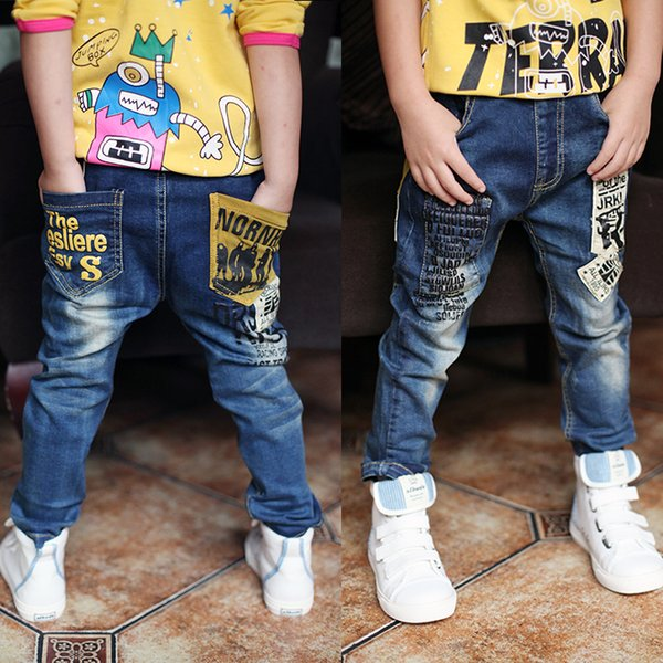 Newest Spring And Autumn Children's Trousers,kids Baby Letter Stitching Pants Boy's Casual Jeans Jeans Boy For 2 To 14 Years Y19051504