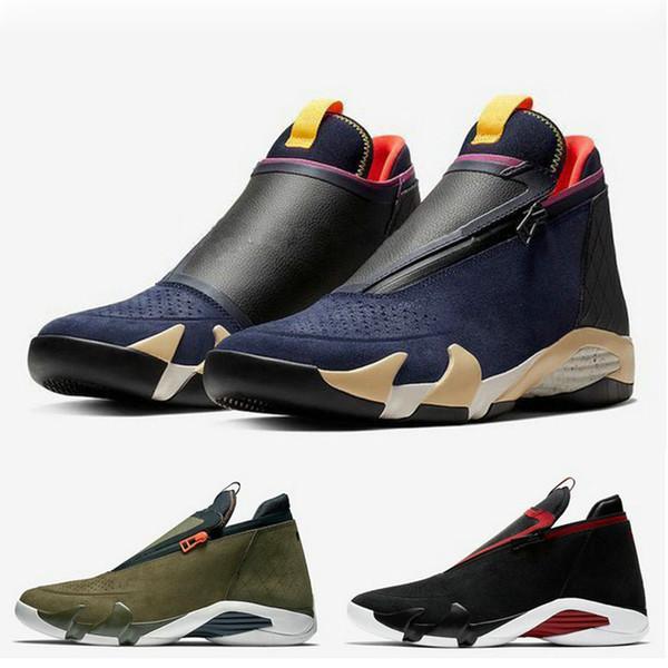2019 New 14s zipper Basket Chaussures Chaussures Hommes Suede Olive Marine Dernier Tir Baskets De Race Jumpman 14s XIV Formateurs AQ9119-001 AQ9119-400