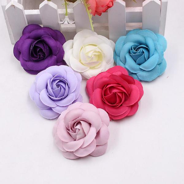 10pcs 5cm Haute Qualité Soie Rose Tête Artificielle Fleur Bourgeon De Mariage Décoration Diy Guirlande Coiffure Accessoires Clip Art Fleur