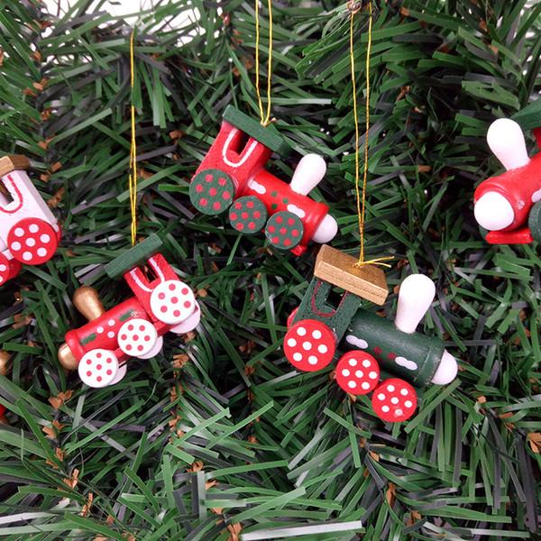 Locomotora Juguetes Regalos decorativos Colgante creativo Woodiness Artes y oficios Colgantes Decoración del árbol de Navidad Kid Gift Vender bien 8ck N1