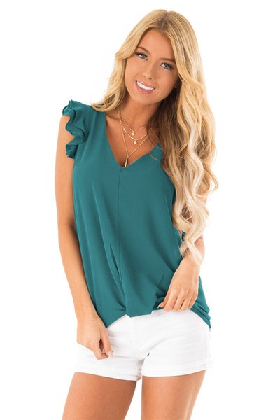 Women's Petal Sleeve Tank Tops Tees Casual Loose Fit Sleeveless V Neck Sexy Summer Tees Shirts Cami Top
