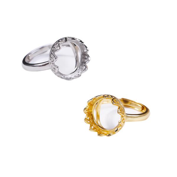 Стерлинговое серебро 925 пробы для женщин, 12x12 мм, круглое кабошон, полугорное кольцо, подходящее янтарно-бирюзовый, белого желтого золота