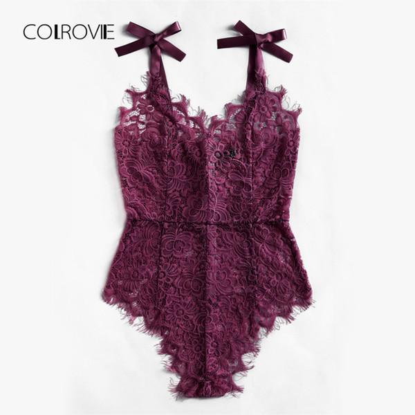 COLROVIE Sexy Body Lila V-Ausschnitt Strap Ärmellos Rückenfreies Oberteil mit Spitze Band Krawatte Schulter Floral Skinny Body Y190424