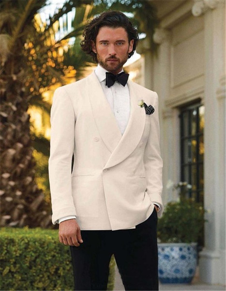 Italian Style White And Black Groom Tuxedos Custom Made Mens Wedding Suits Groomsman Attire (Jacket+Pants+Bowtie+Handkerchief)