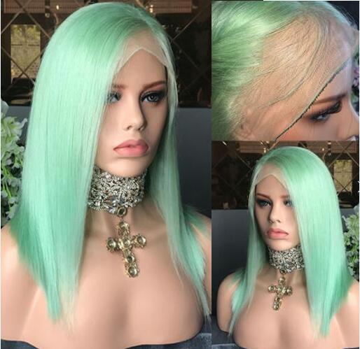 Green color lace front wig brazilian virgin hair glueless full lace wig for black women free shipping