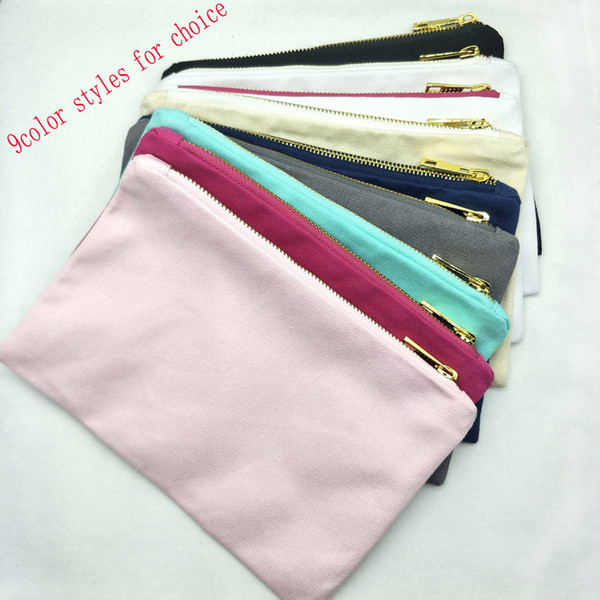 best selling 12oz cotton canvas cosmetic bag with gold metal zip 6x9in blank cotton canvas makeup bag black white cream grey navy mint pink in stock