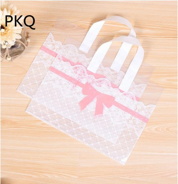 50pcs 33x25cm large Shopping Plastic Bag With Handles big Gift Bags Jewelry Cookies bag Big pink bowknot Supermarket Clothes